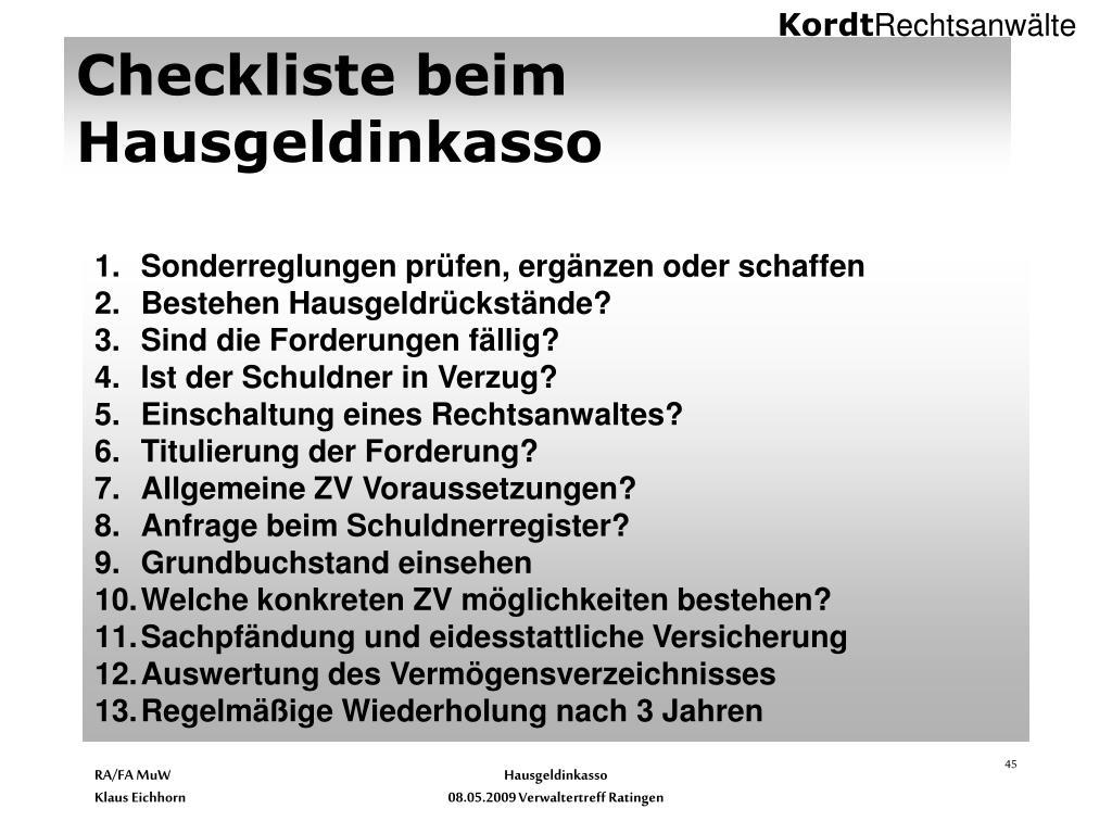 Checkliste beim