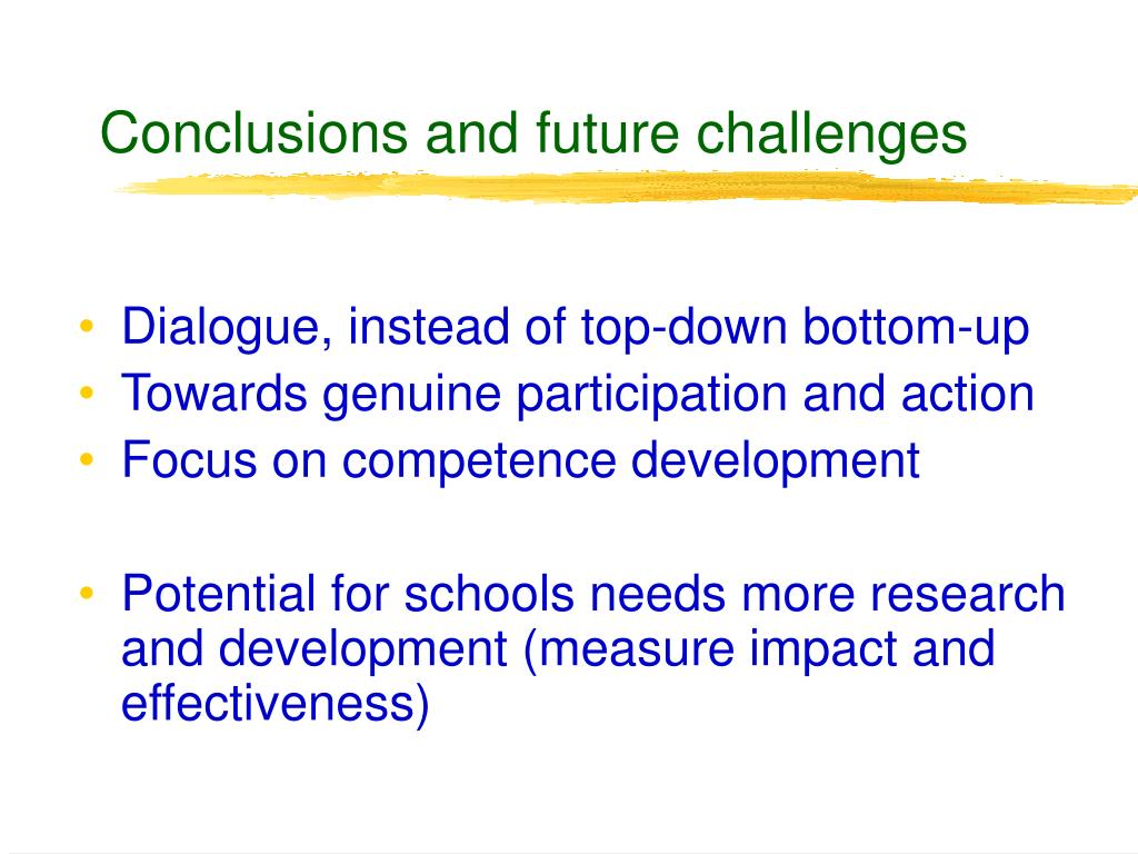 Conclusions and future challenges