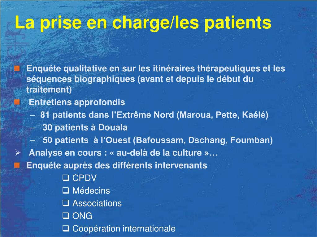 La prise en charge/les patients