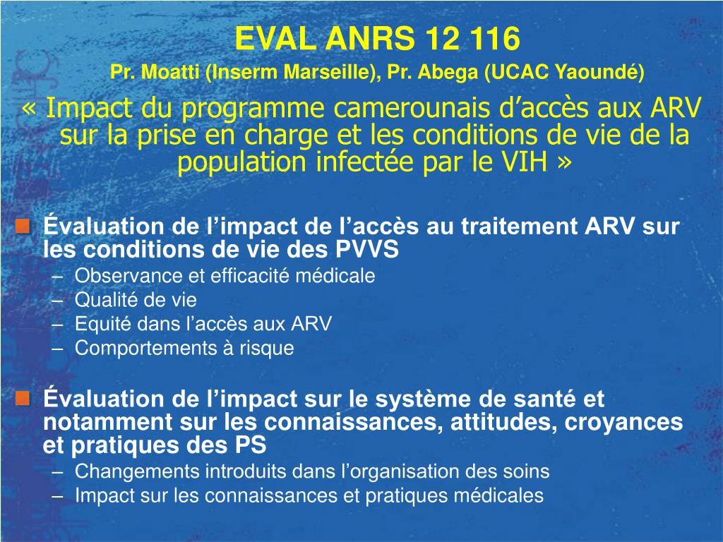 « Impact du programme camerounais d'accès aux ARV sur la prise en charge et les conditions de vie de la population infectée par le VIH »