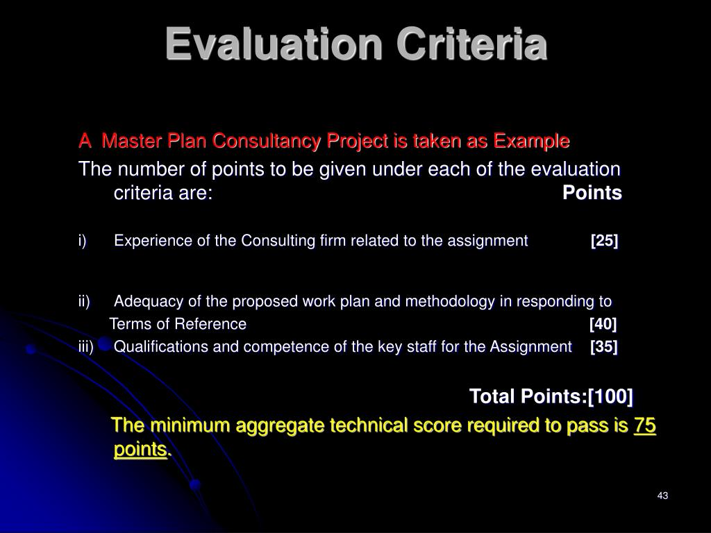 A  Master Plan Consultancy Project is taken as Example