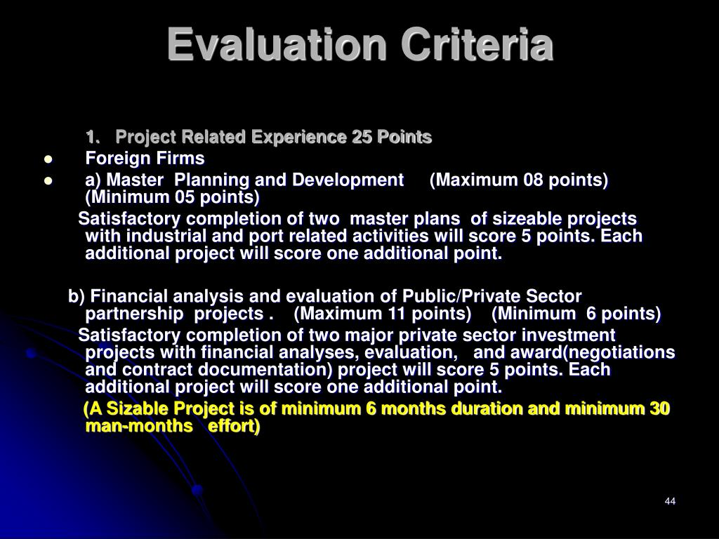 1.Project Related Experience 25 Points