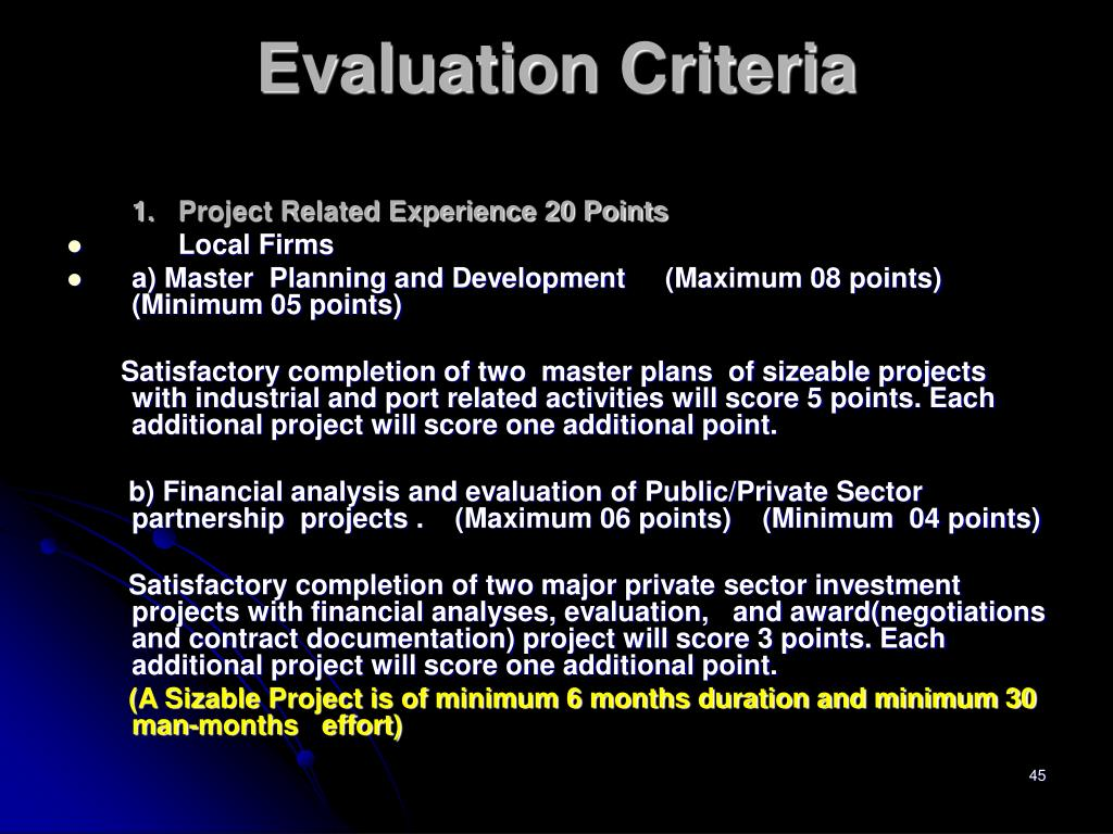 1.Project Related Experience 20 Points