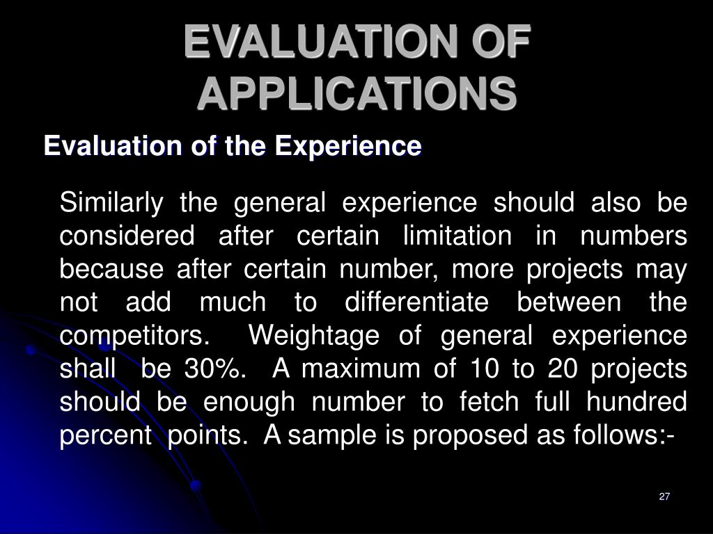 Evaluation of the Experience