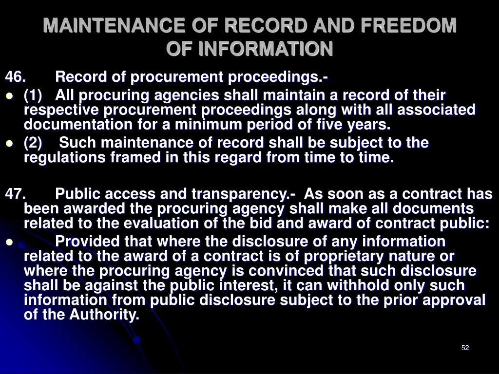 MAINTENANCE OF RECORD AND FREEDOM OF INFORMATION