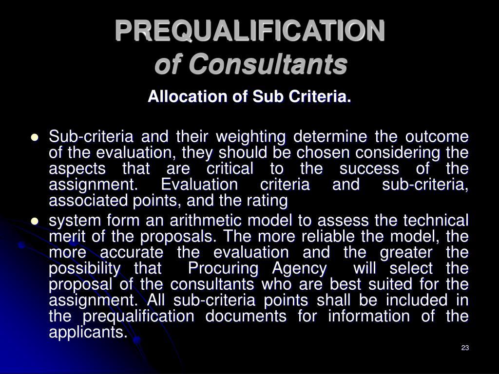 Allocation of Sub Criteria.