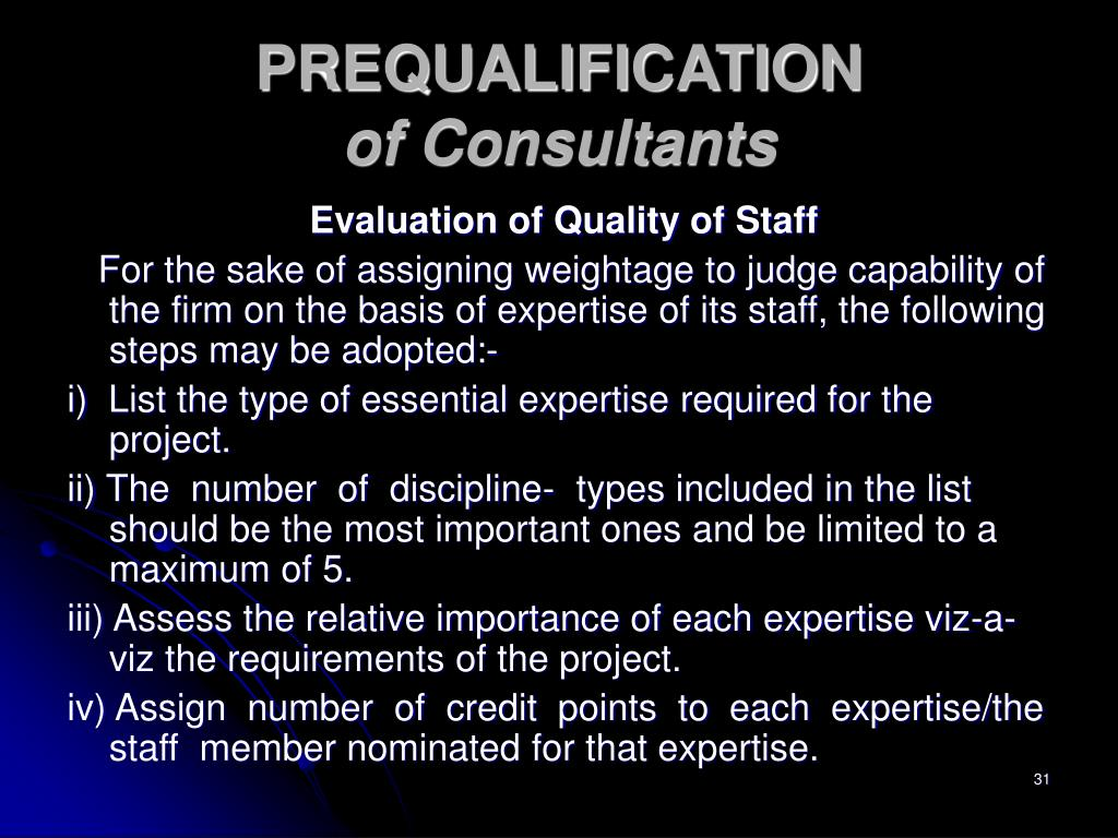 Evaluation of Quality of Staff