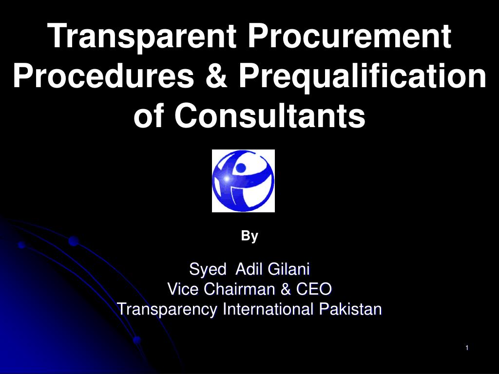 Transparent Procurement Procedures & Prequalification of Consultants