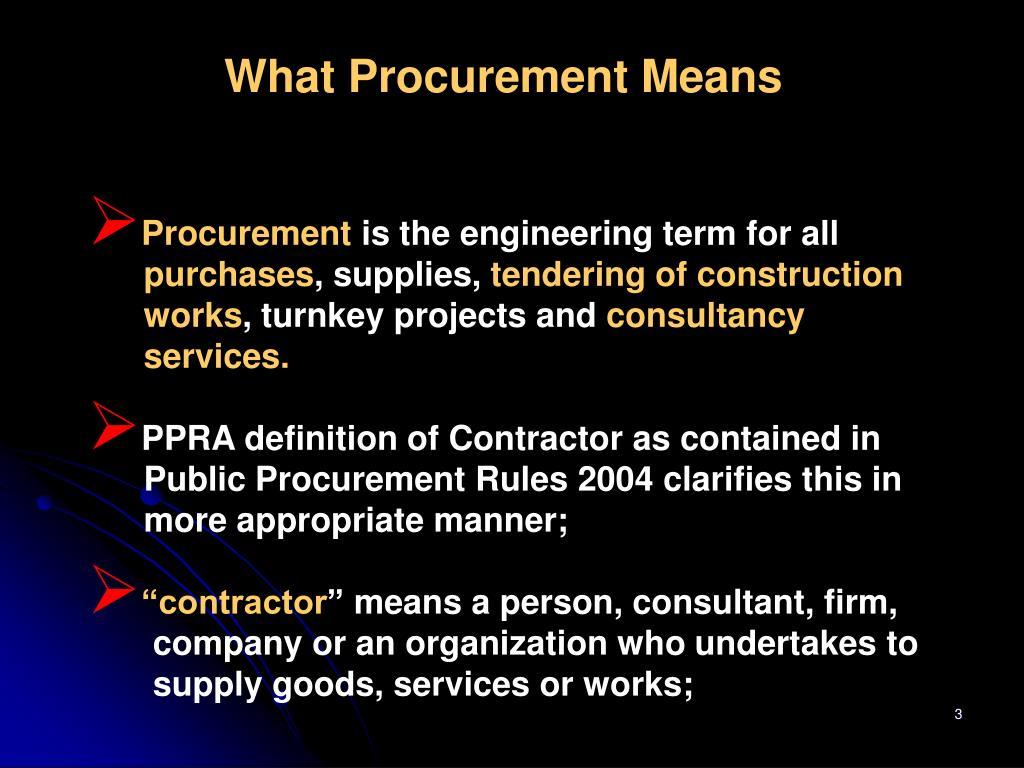 What Procurement Means