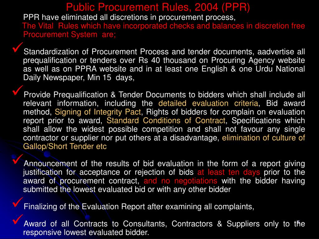 Public Procurement Rules, 2004 (PPR)