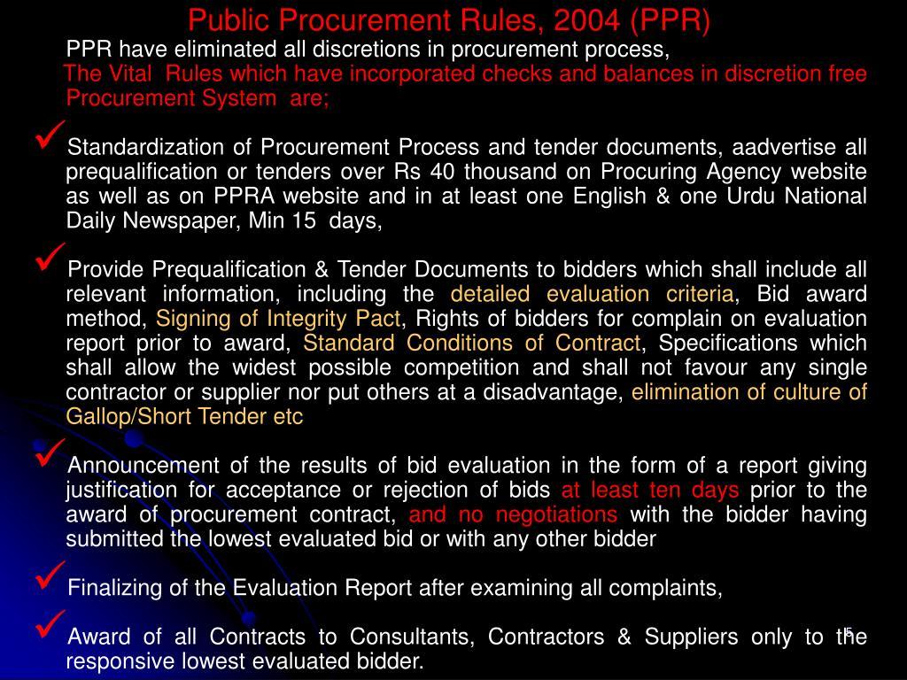 Public Procurement Rules, 2004 (PPR)