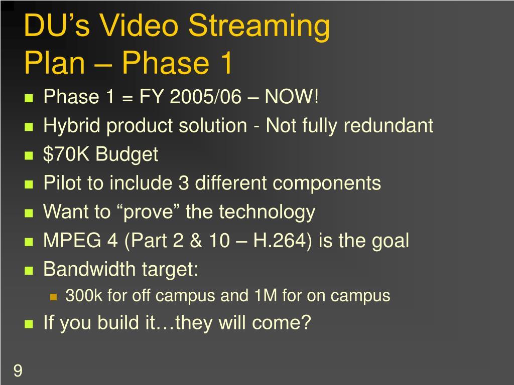 DU's Video Streaming