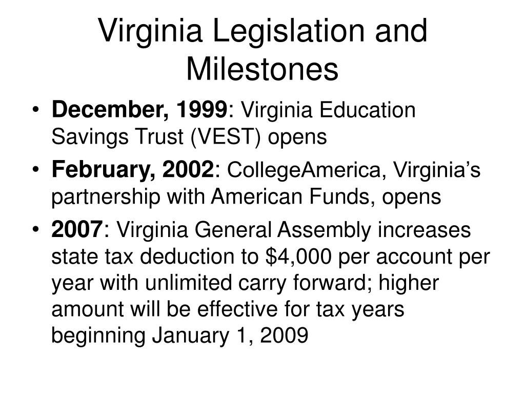Virginia Legislation and Milestones