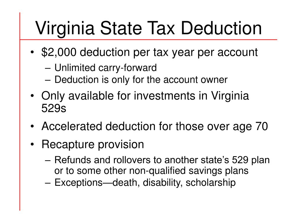 Virginia State Tax Deduction