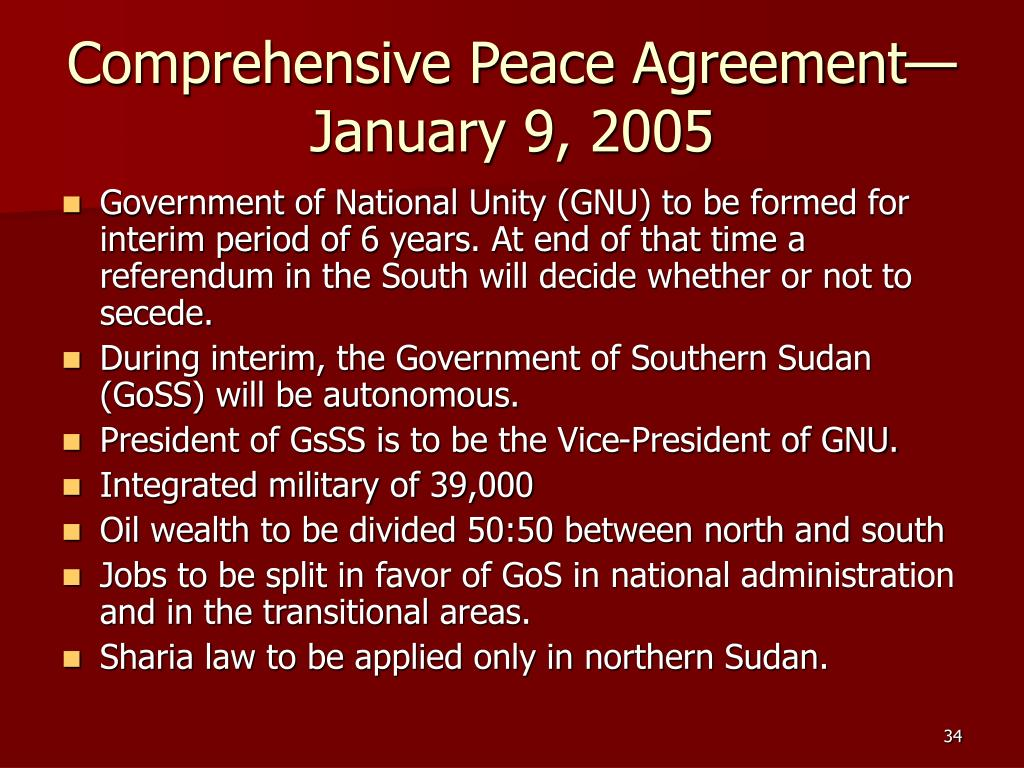Comprehensive Peace Agreement—January 9, 2005