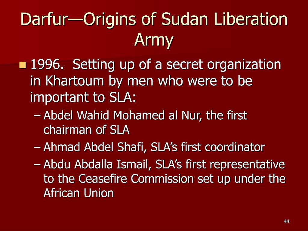 Darfur—Origins of Sudan Liberation Army