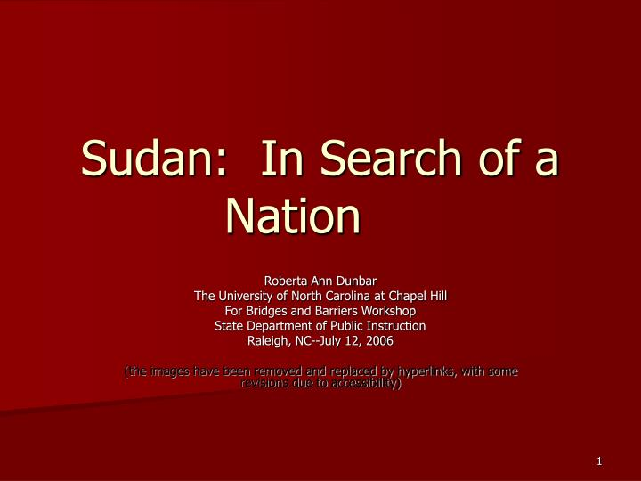 Sudan in search of a nation
