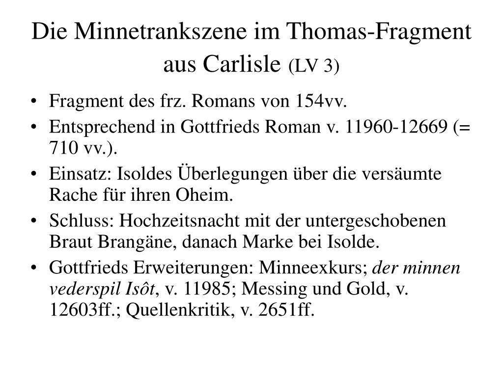 Die Minnetrankszene im Thomas-Fragment aus Carlisle
