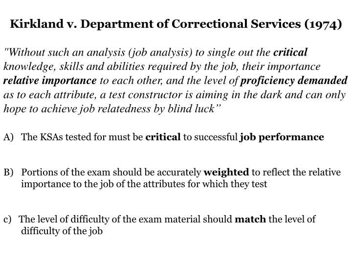 Kirkland v. Department of Correctional Services (1974)