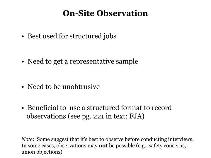 On-Site Observation