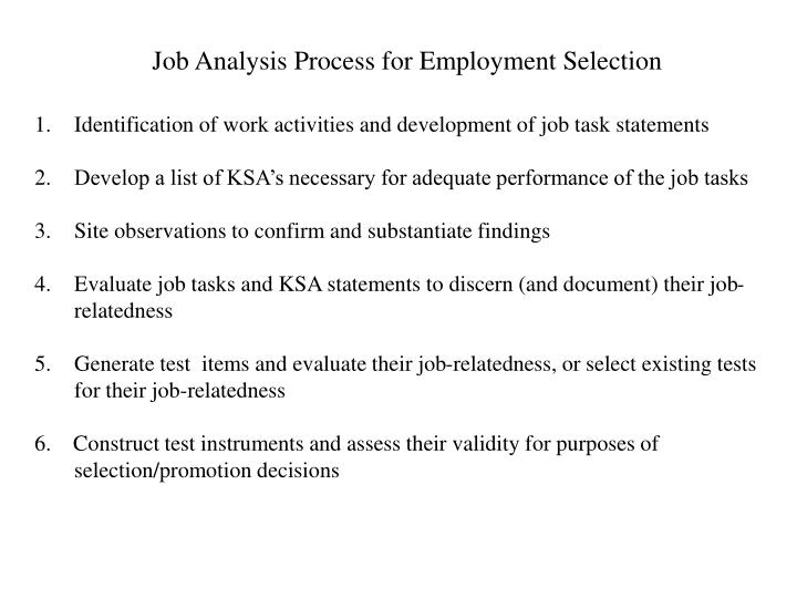 Job Analysis Process for Employment Selection