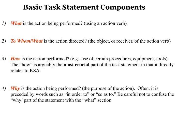 Basic Task Statement Components