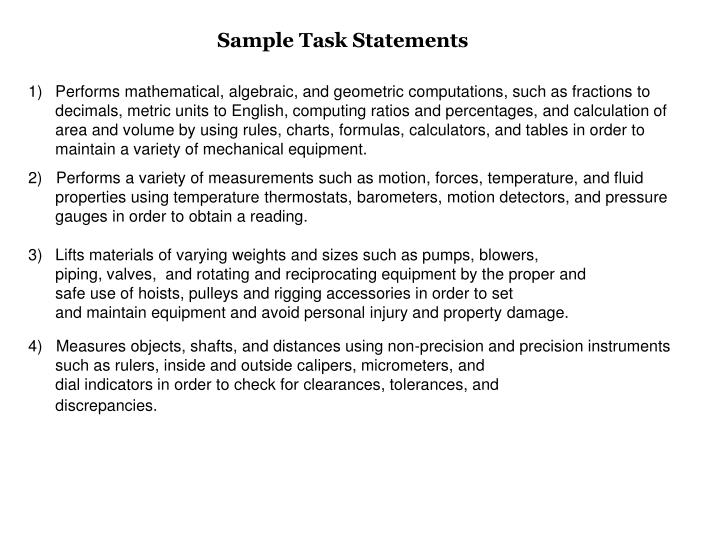 Sample Task Statements