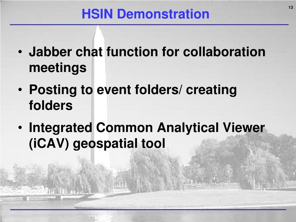HSIN Demonstration