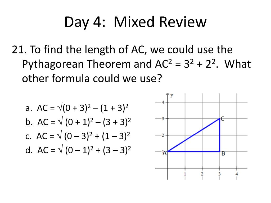 Day 4:  Mixed Review