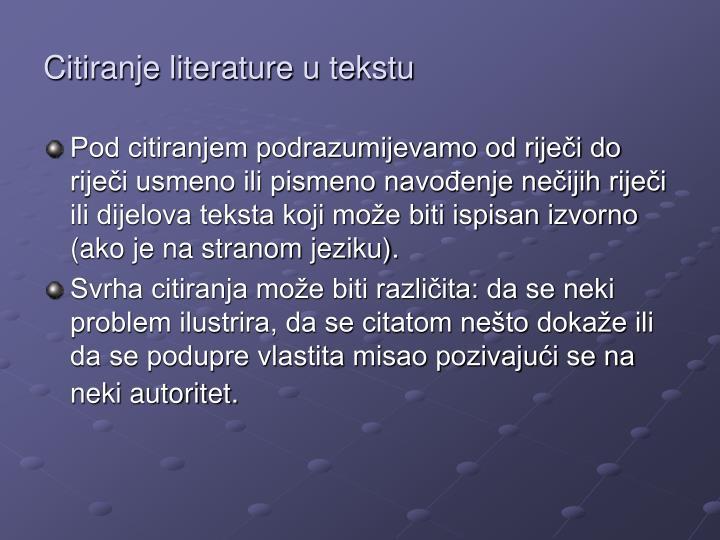 Citiranje literature u tekstu