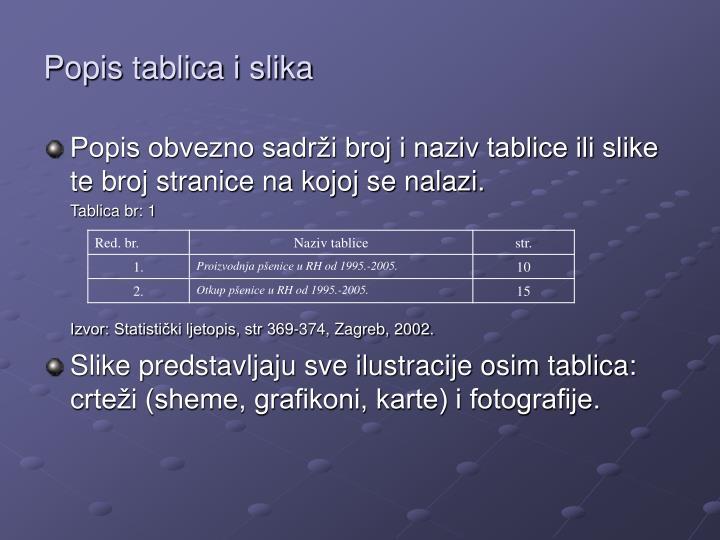 Popis tablica i slika