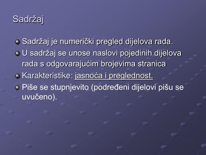 Sadržaj