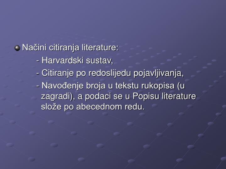 Načini citiranja literature: