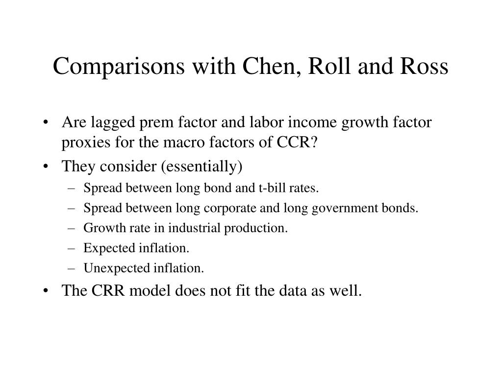 Comparisons with Chen, Roll and Ross