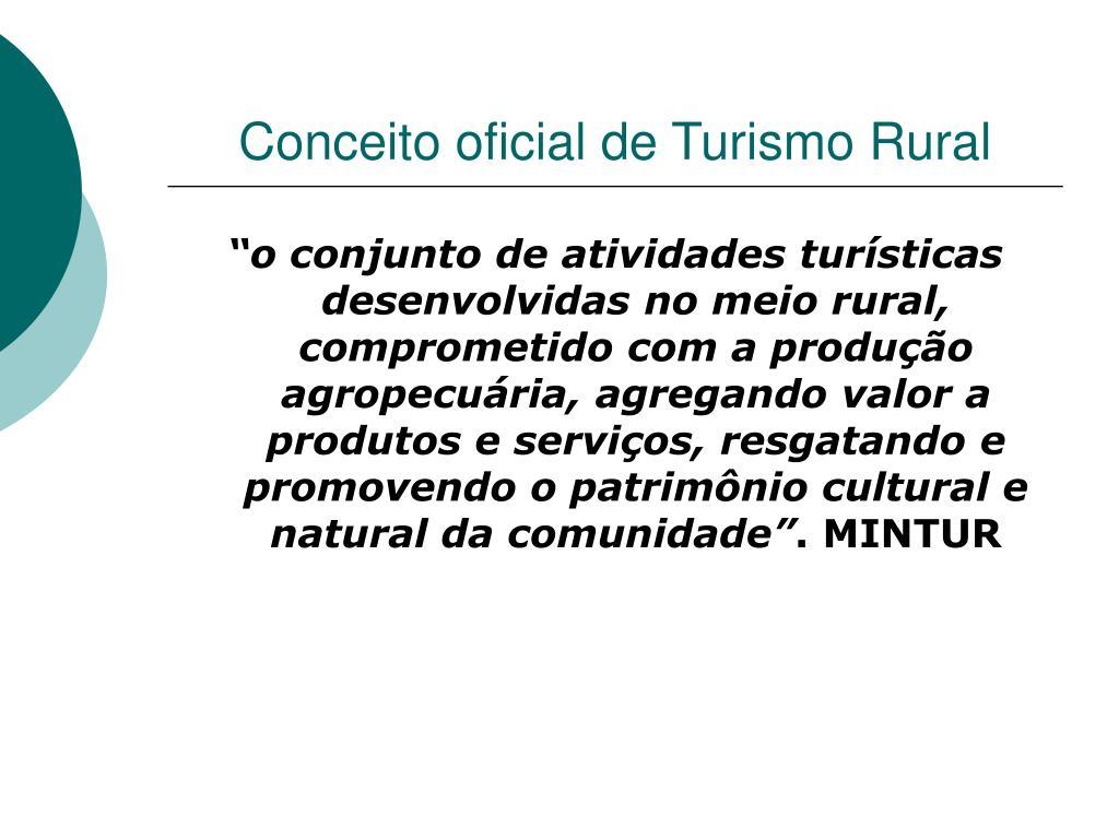 Conceito oficial de Turismo Rural