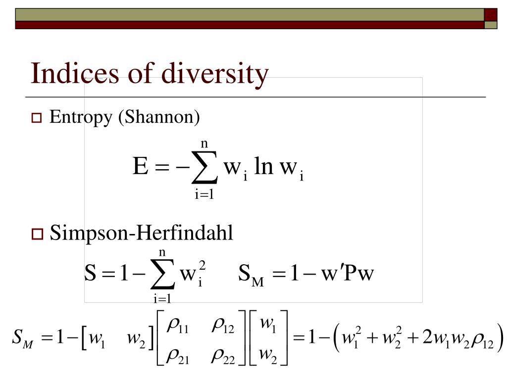 Indices of diversity
