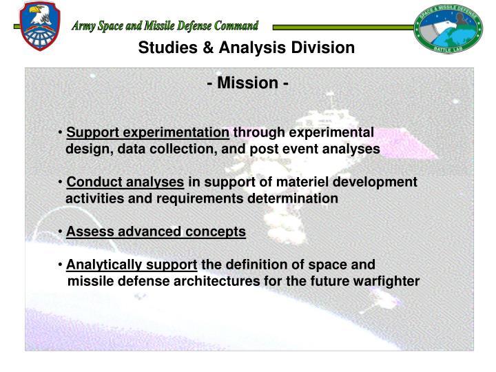 Studies & Analysis Division