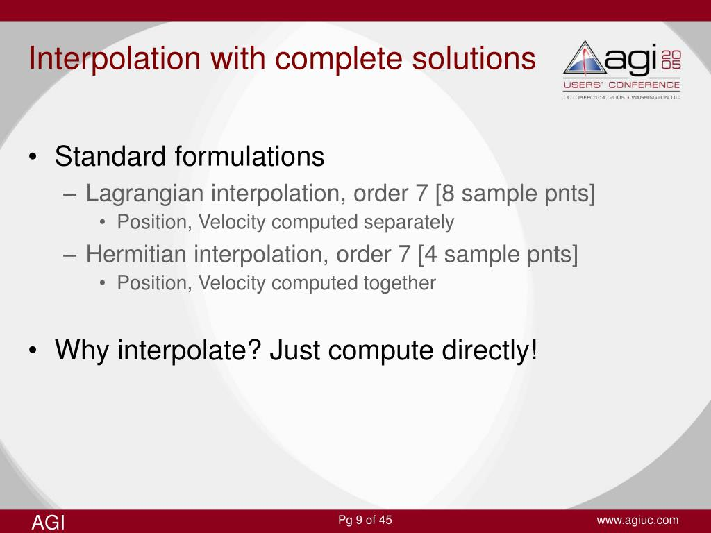 Interpolation with complete solutions