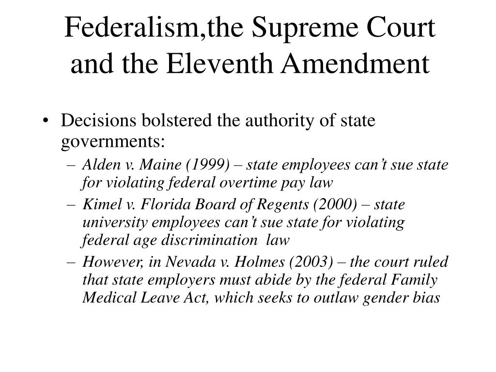 Federalism,the Supreme Court and the Eleventh Amendment