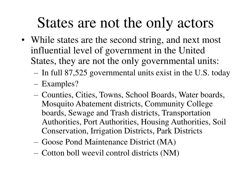 States are not the only actors