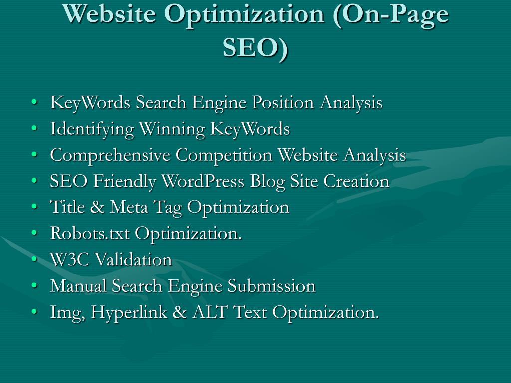 Website Optimization (On-Page SEO)