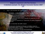 belgium s experience with peer reviews a detailed example the belgian economic review 2007 3
