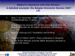 belgium s experience with peer reviews a detailed example the belgian economic review 2007 4