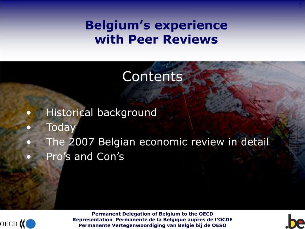 Belgium's experience
