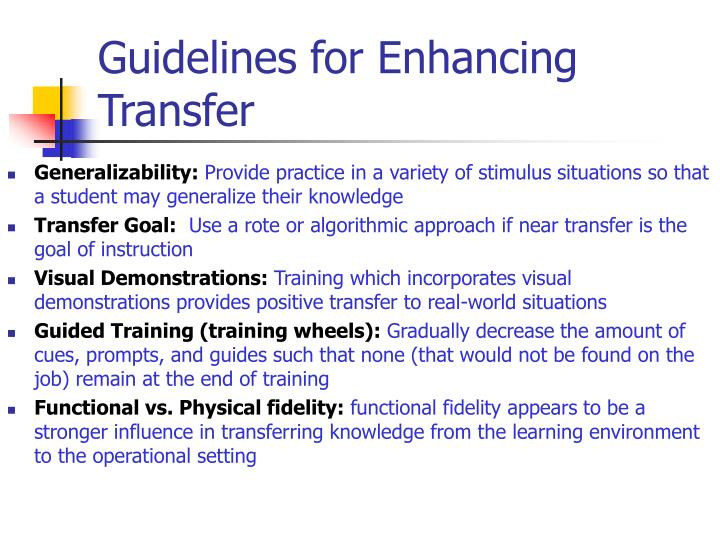 Guidelines for Enhancing Transfer