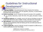 guidelines for instructional development