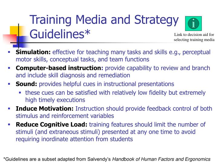 Training Media and Strategy Guidelines*