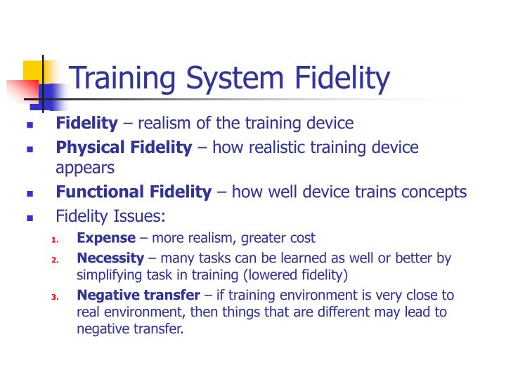 Training System Fidelity