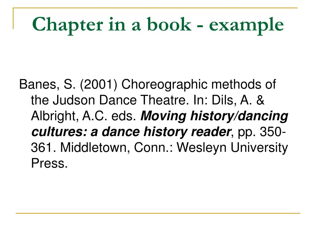 Chapter in a book - example