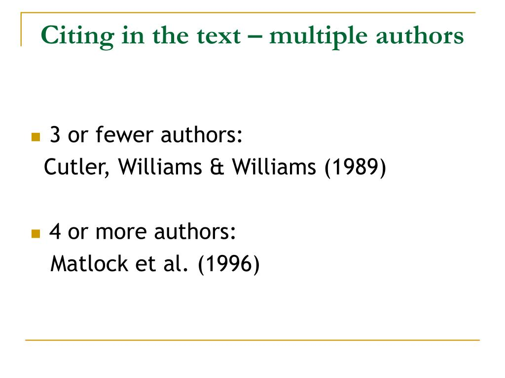 Citing in the text – multiple authors